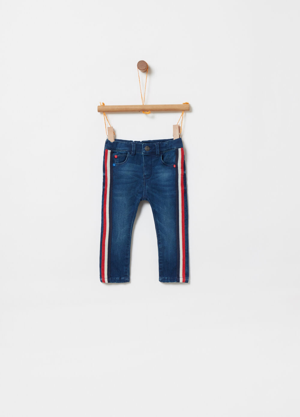 Regular jeans with contrasting bands