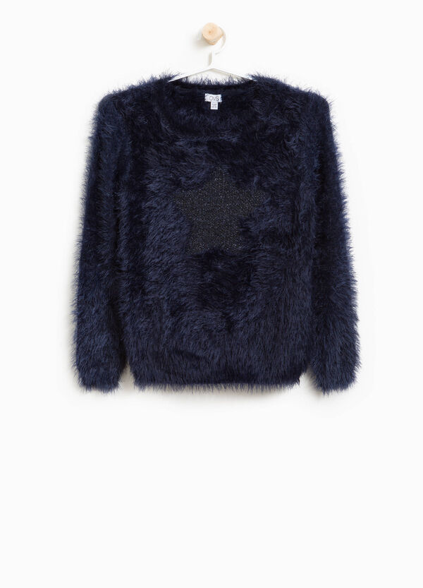 Faux fur pullover with star insert | OVS