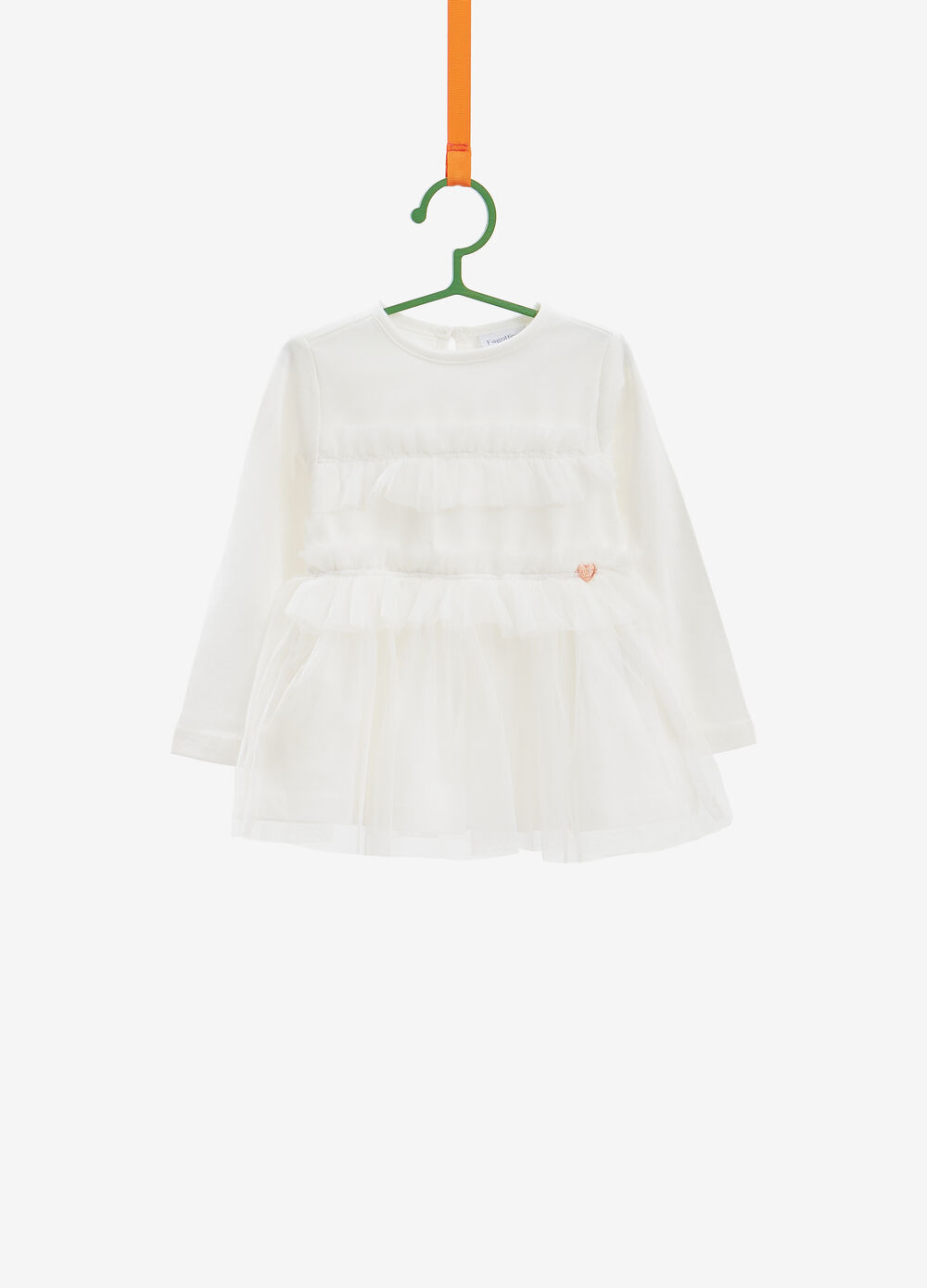 Stretch cotton T-shirt with tulle flounce