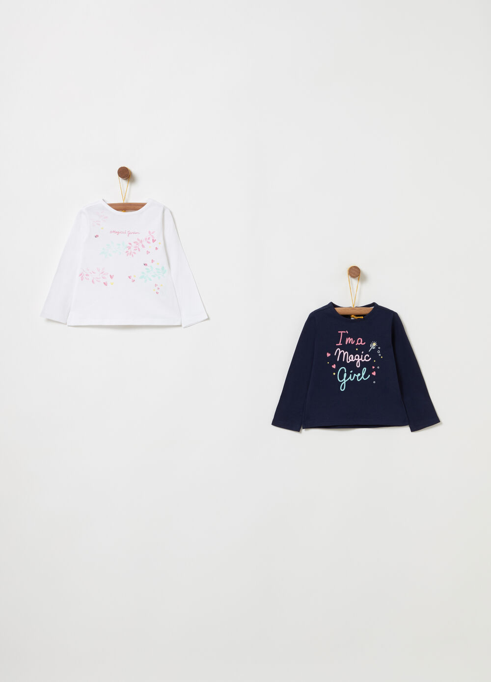 Two-pack T-shirts with glitter print