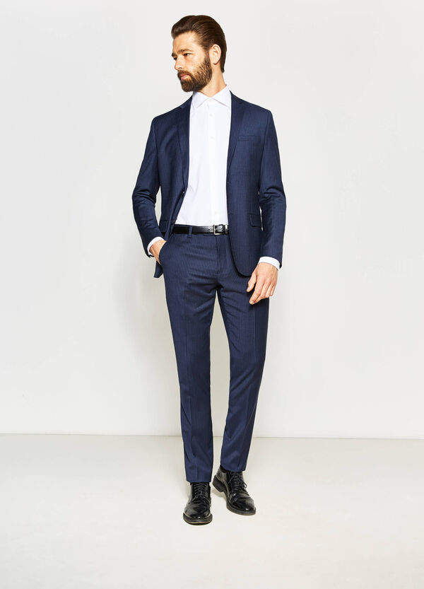 Slim-fit striped suit in stretch wool