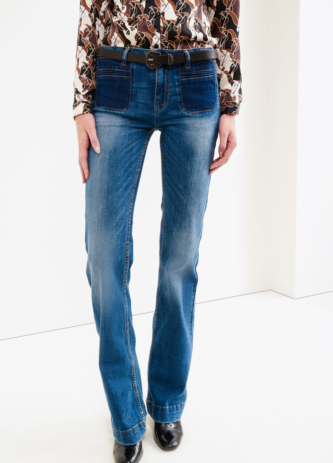 Jeans flare fit used con scoloriture