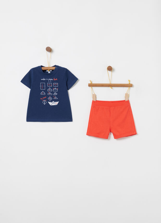 T-shirt and shorts jogging set with ribbing and print