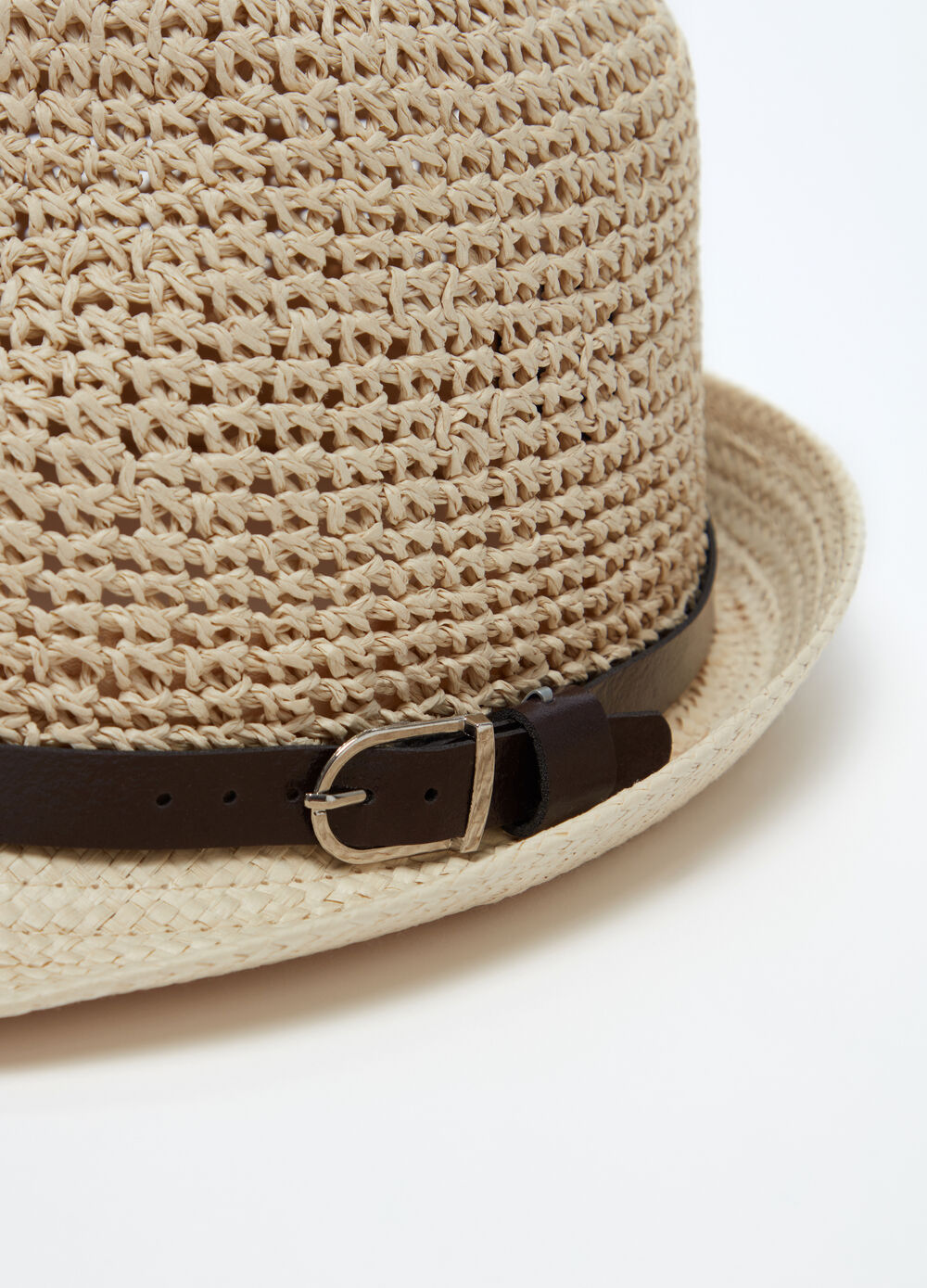 Woven straw hat with strap