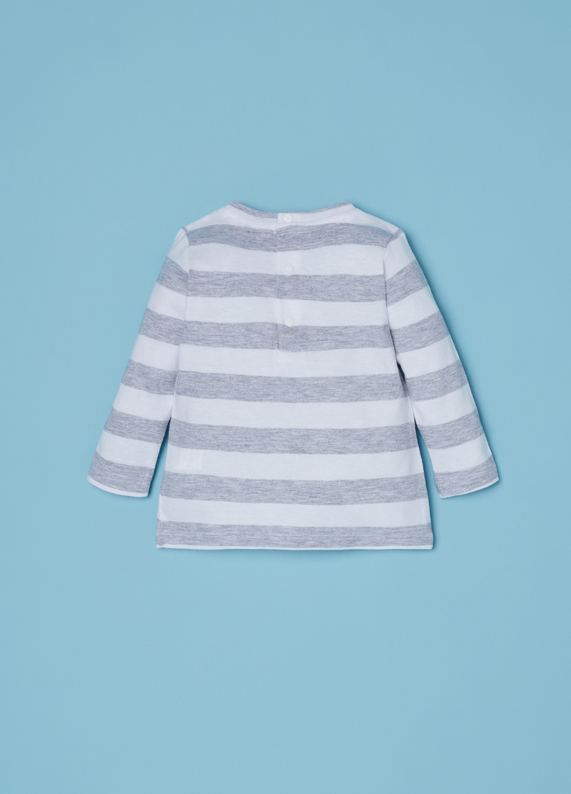 Viscose and organic cotton T-shirt with stripes image number null
