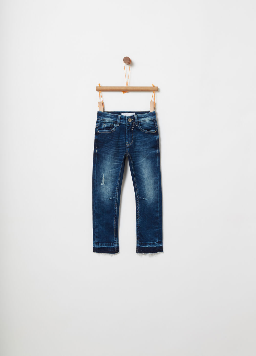Used-effect slim-fit stretch denim jeans