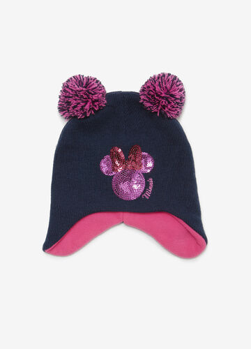 Minnie Mouse hat with pompoms and sequins