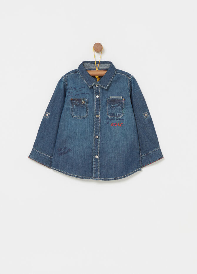 Washed-effect denim shirt with embroidery