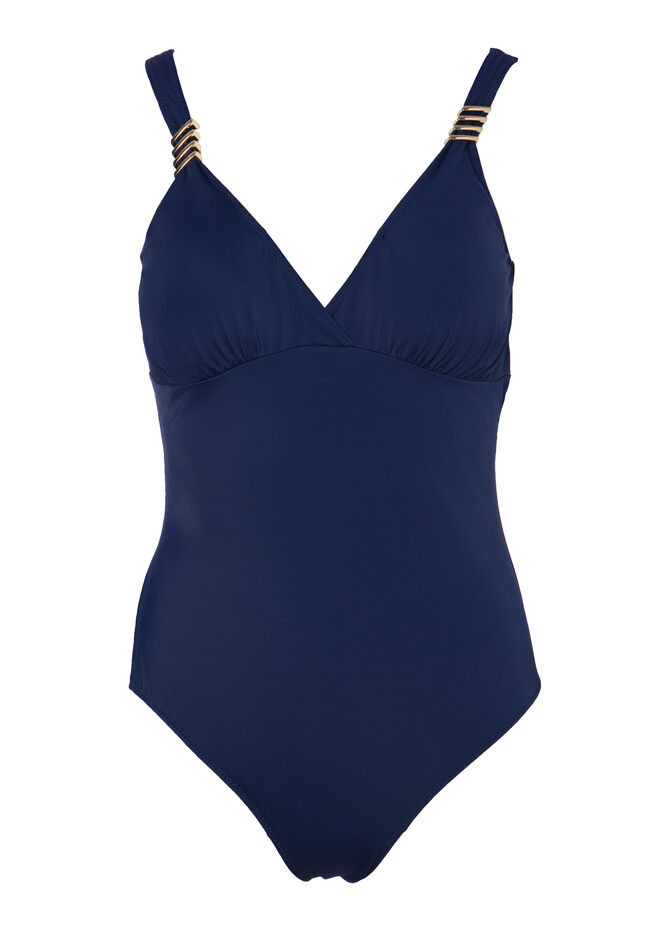 Curvy solid colour one-piece swimsuit