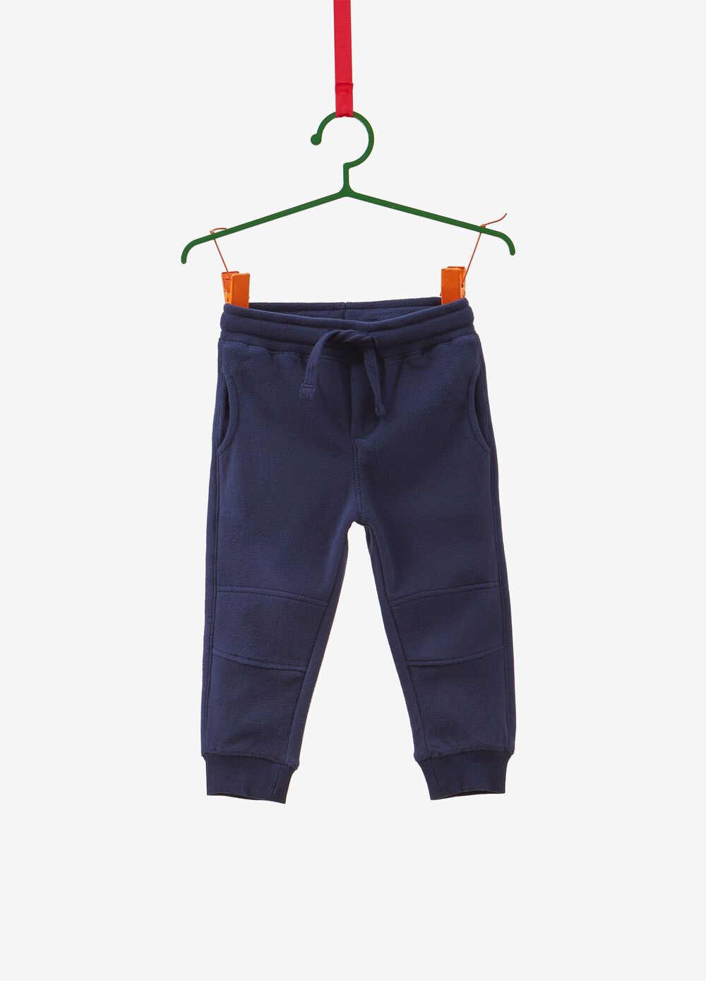 Solid colour trousers with stitching