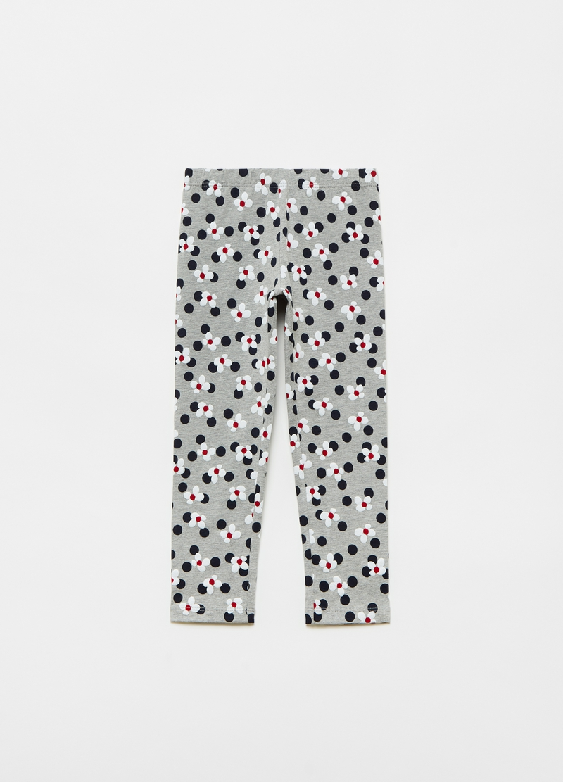 Leggings stretch stampa fiori e pois all-over image number null
