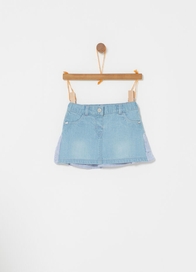 Denim skirt with striped flounce