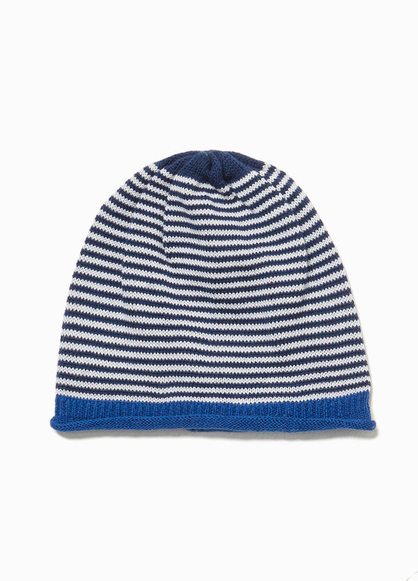 Striped cotton knitted beanie cap