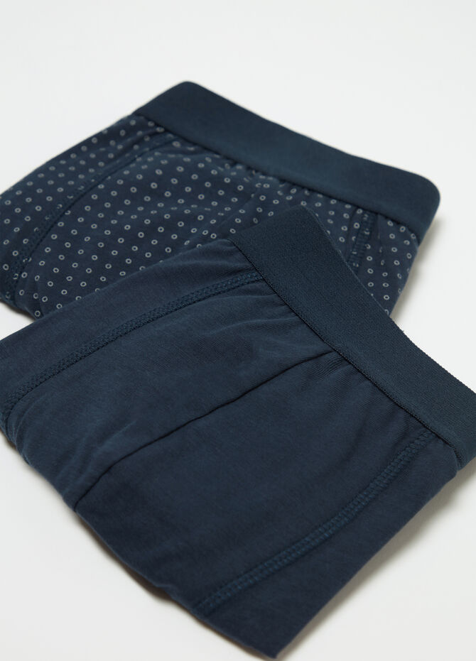 Two-pack solid colour and polka dot stretch boxer shorts