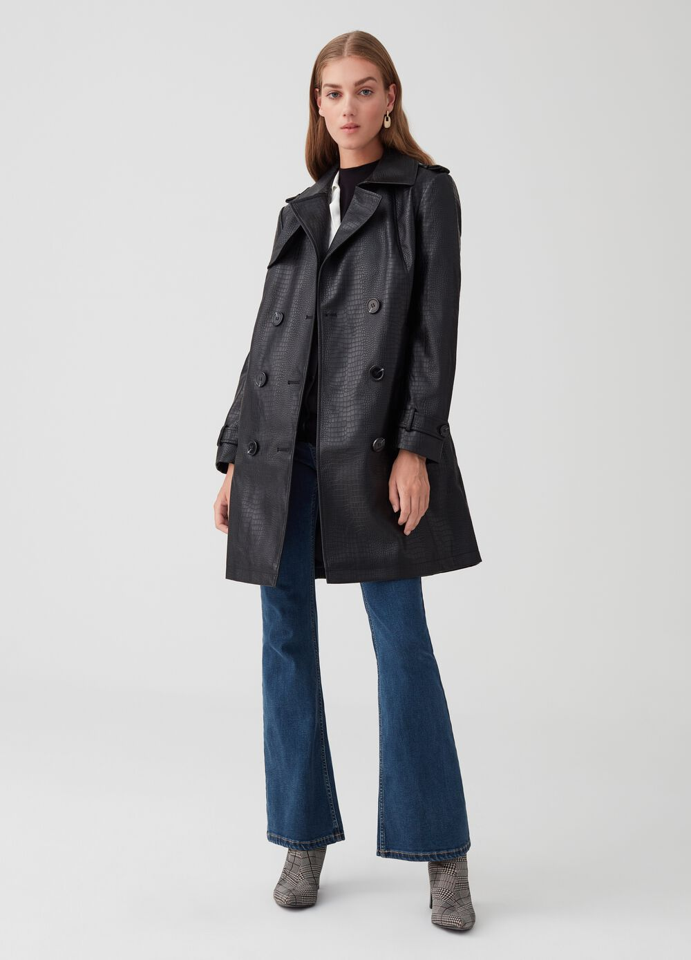 Crocodile-effect faux leather trench coat