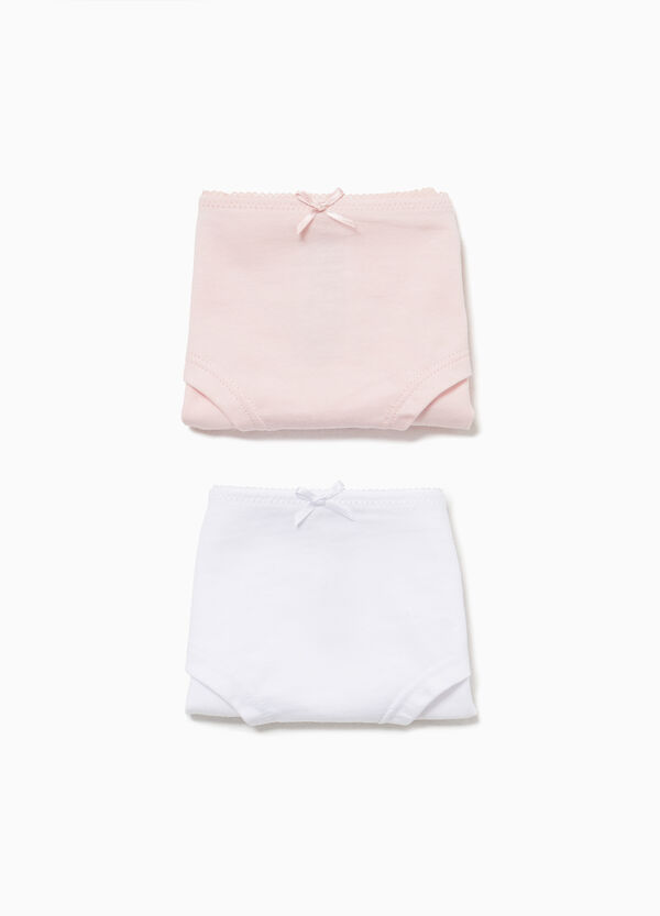 Two-pack solid colour stretch French knickers