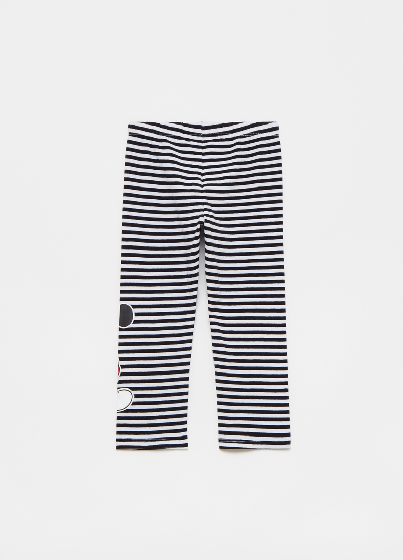 Striped leggings with Disney Mickey Mouse print image number null
