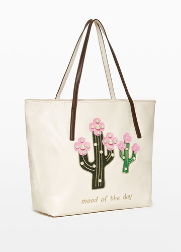 Shopping bag con patch e perline