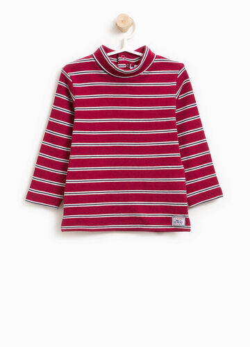 100% cotton striped turtleneck jumper