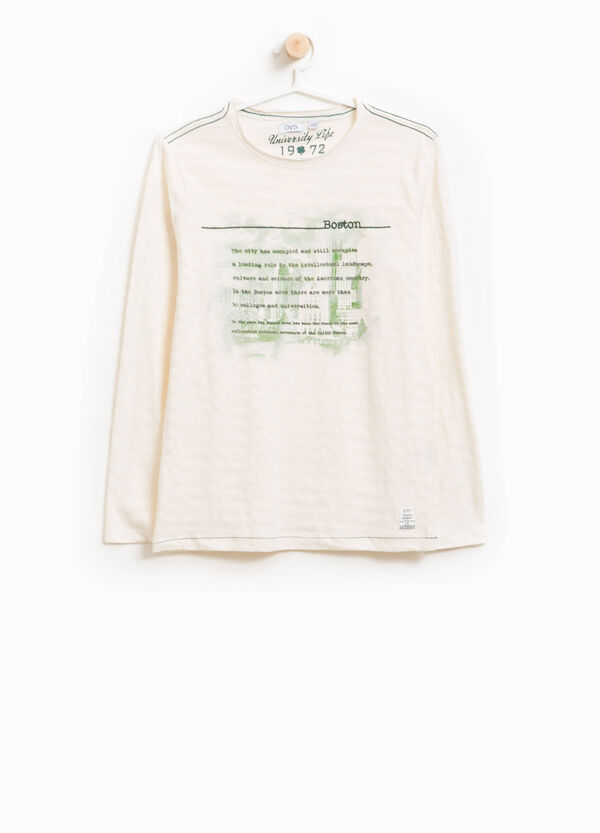 T-shirt cotone jacquard stampa lettering