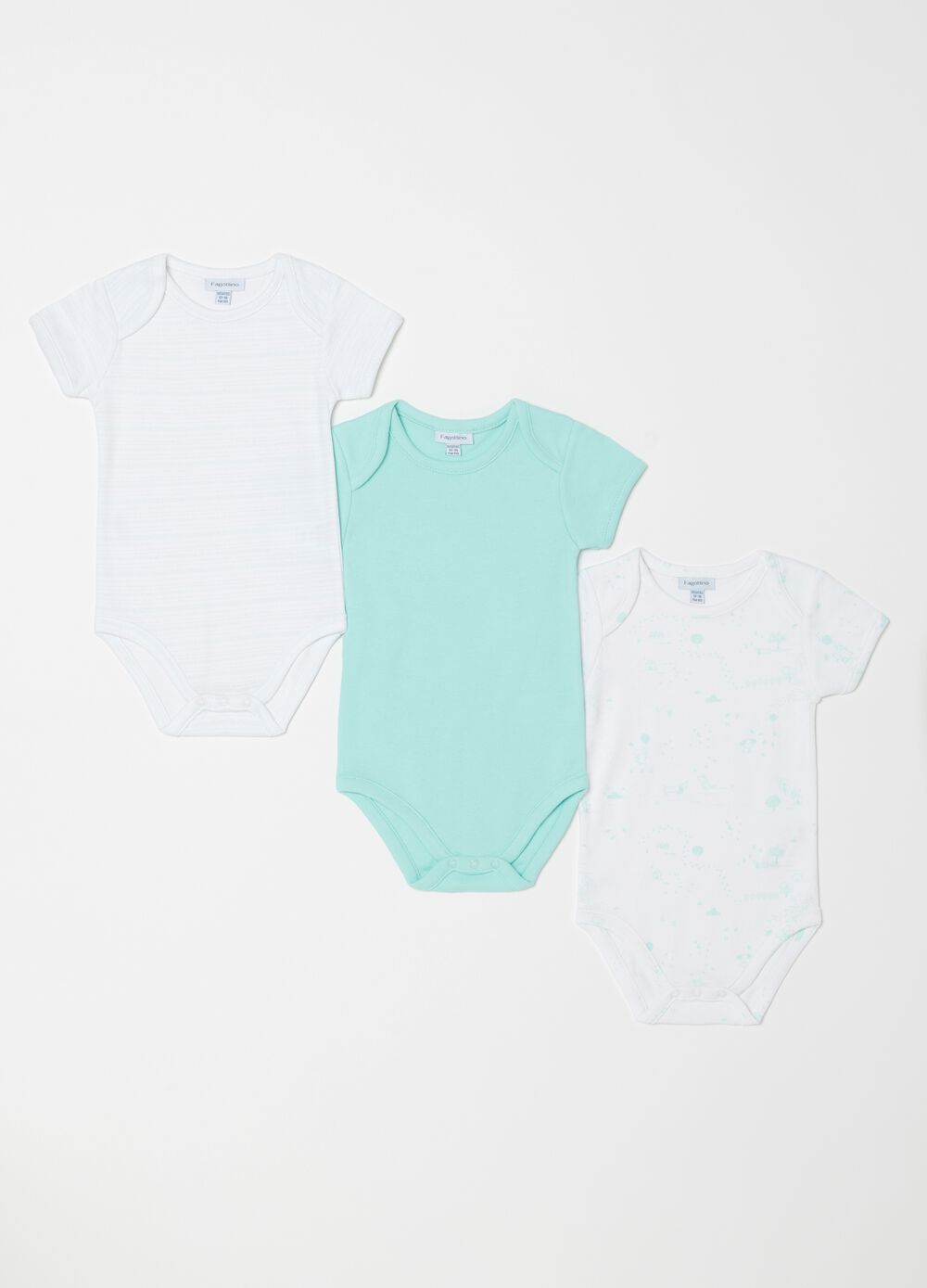 Set tre body biocotton con maniche corte