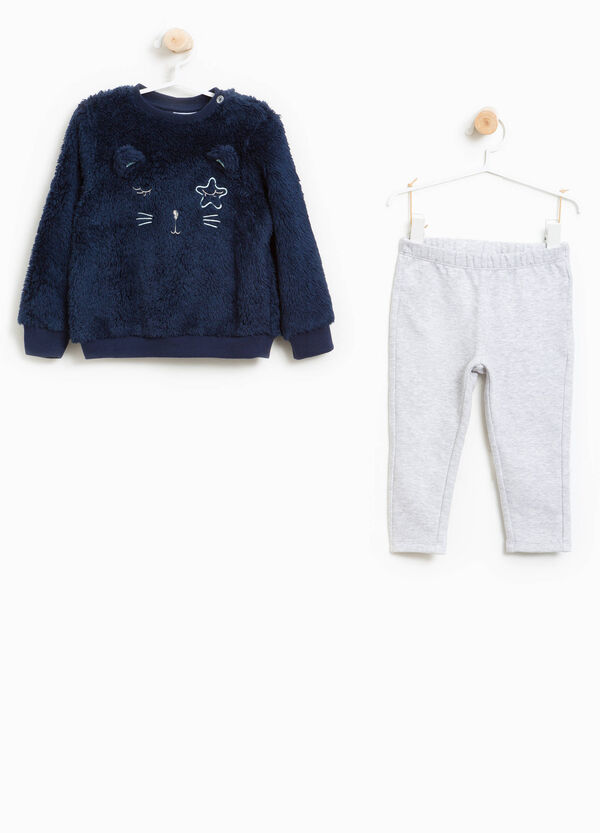 Fur tracksuit with ears and embroidery