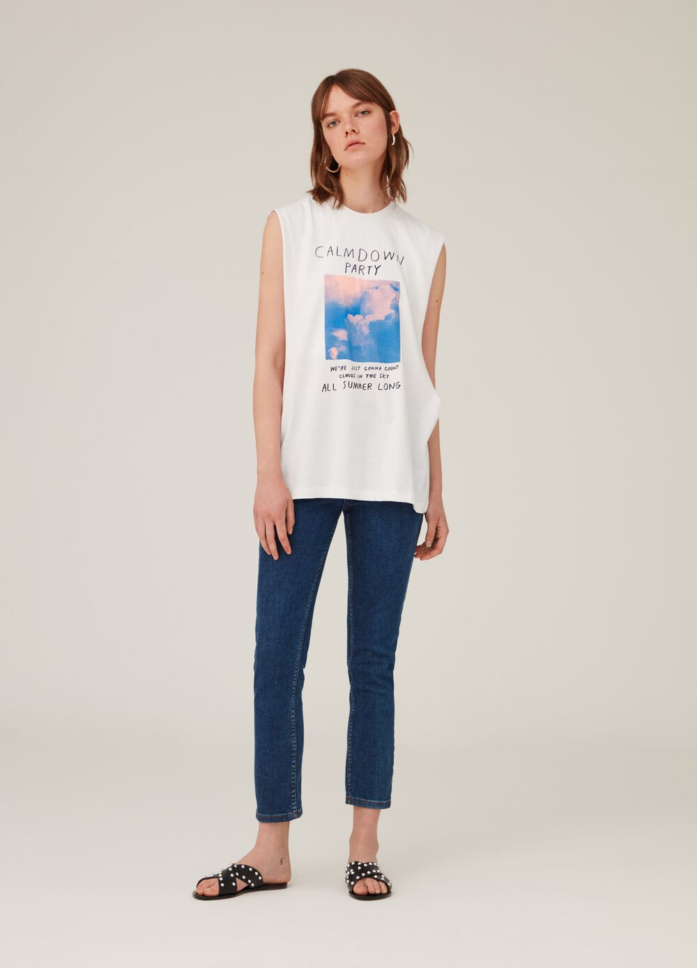 Tank top over in puro cotone stampa