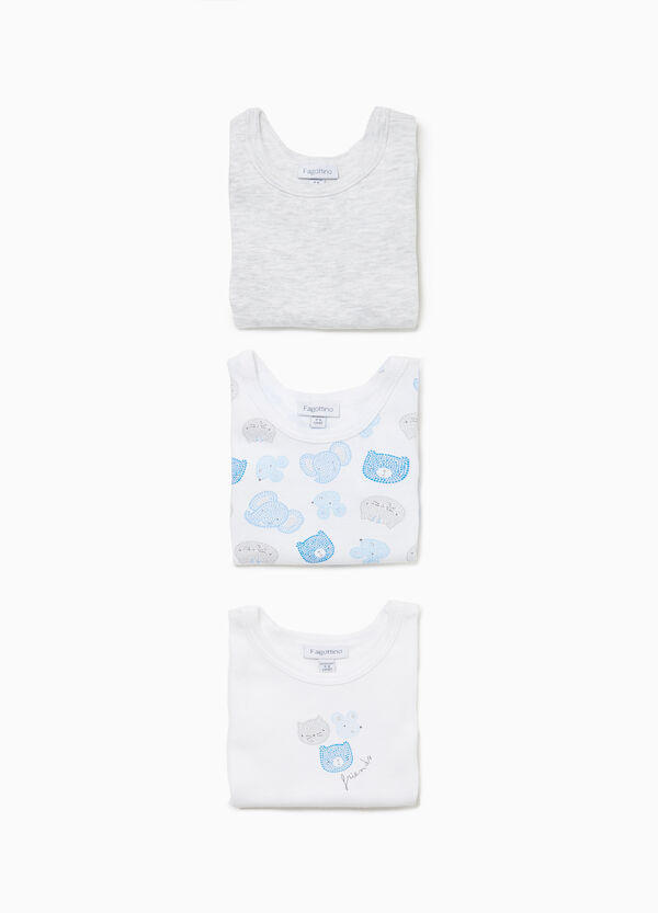 Three-pack solid colour and printed sleeveless bodysuits