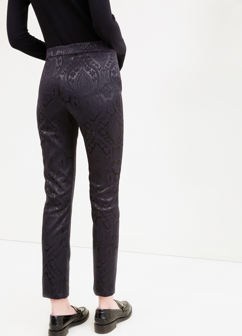 Stretch trousers with paisley pattern image number null