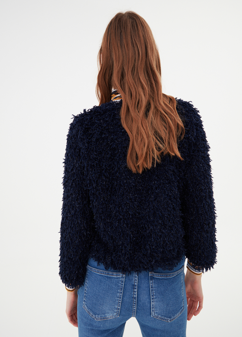 Fur-effect cardigan jacket image number null