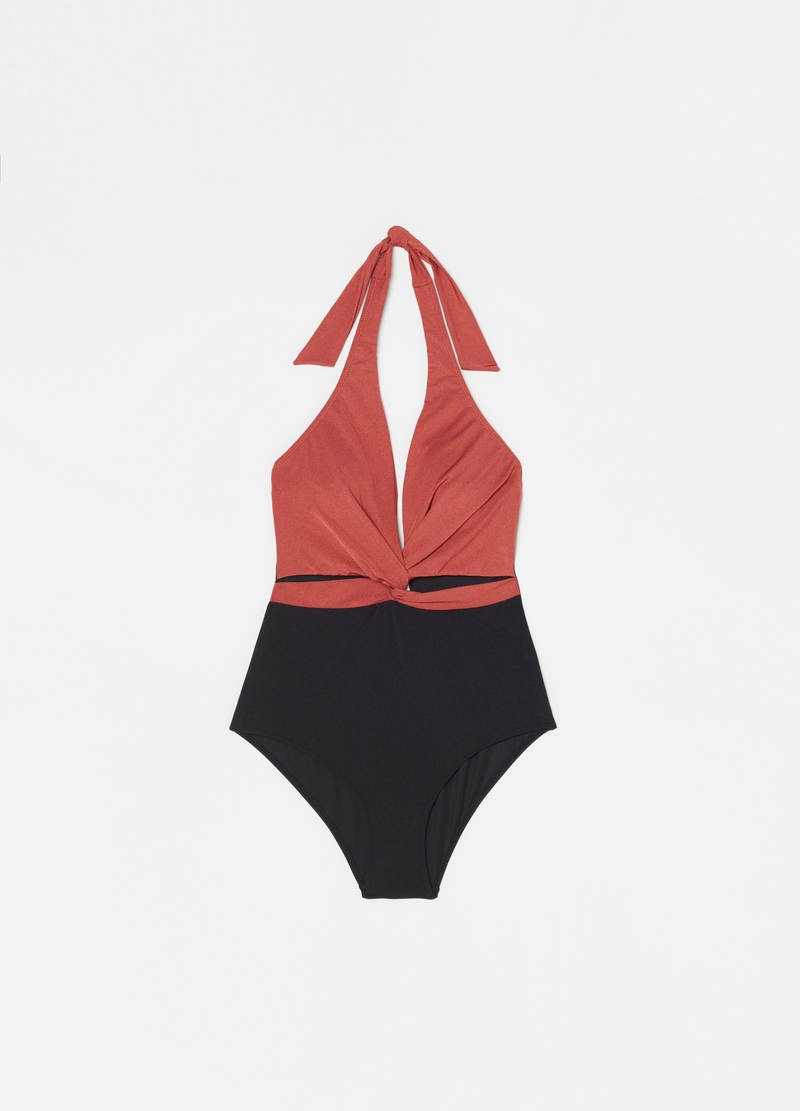 Two-tone one-piece swimsuit image number null