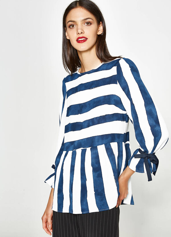 Striped stretch blouse with ties | OVS