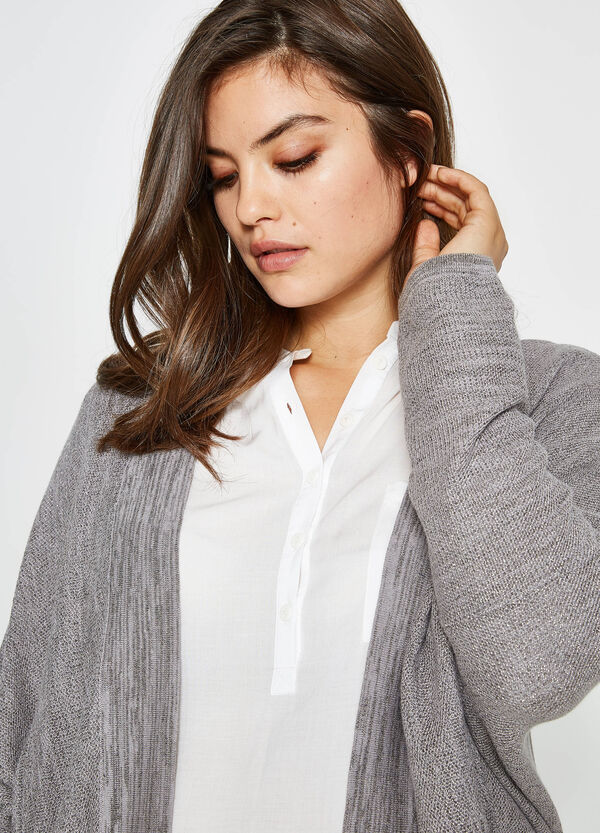 Curvy mélange cotton cardigan