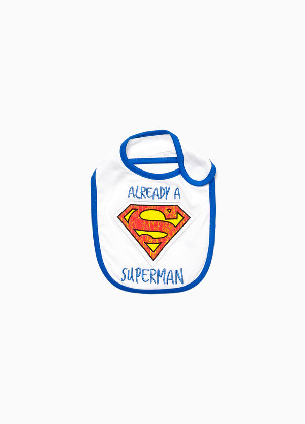 Cotton bib with Superman embroidery patch
