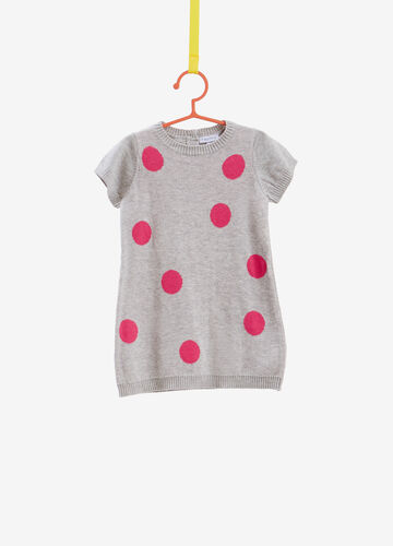 Knitted dress in 100% cotton with polka dot print