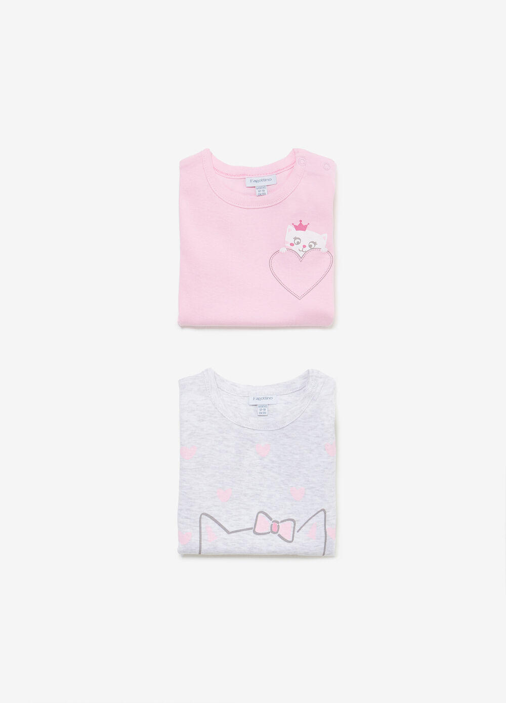 Two-pack bodysuits with kitten print
