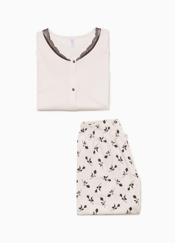 Cotton pyjamas with micro polka dots and roses