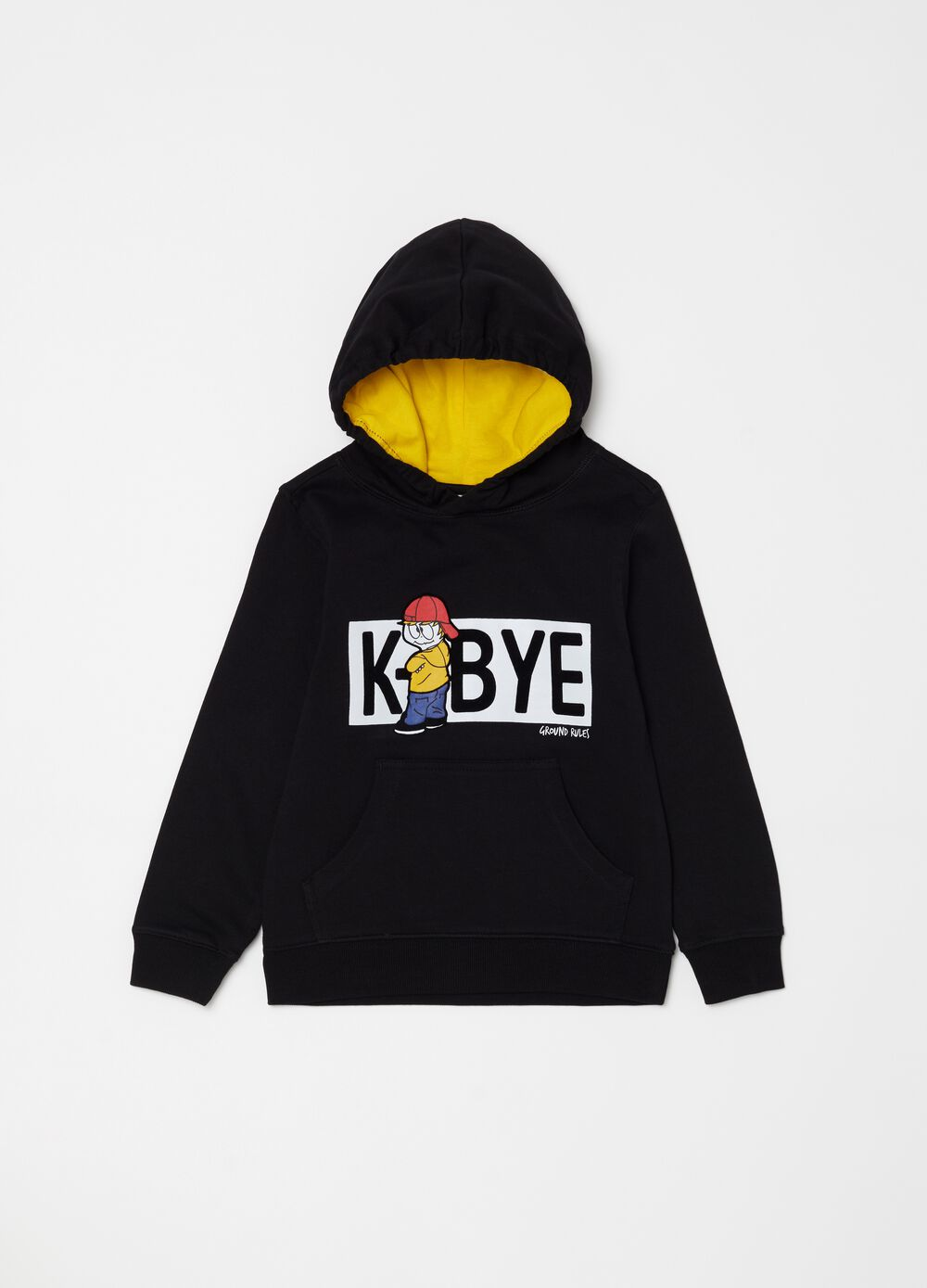 Sweatshirt in cotton with pouch pocket and print