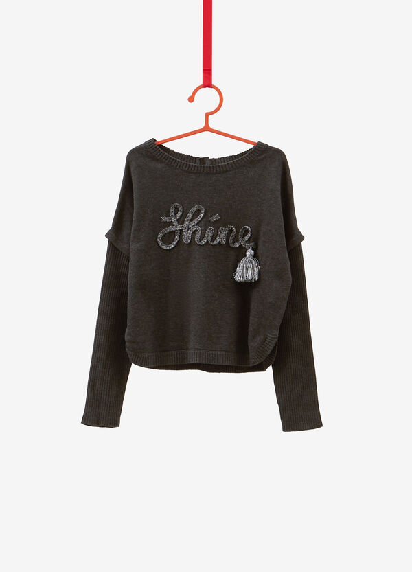 Knitted pullover with lettering patch and flap