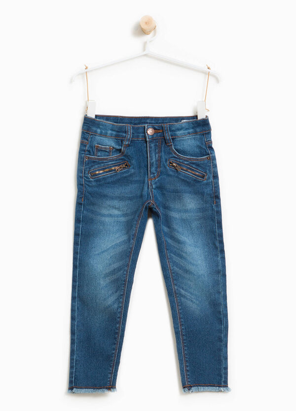 Jeans stretch effetto used con zip