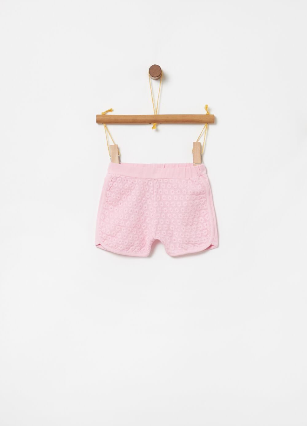 Shorts in biocotton stretch ricami floreali