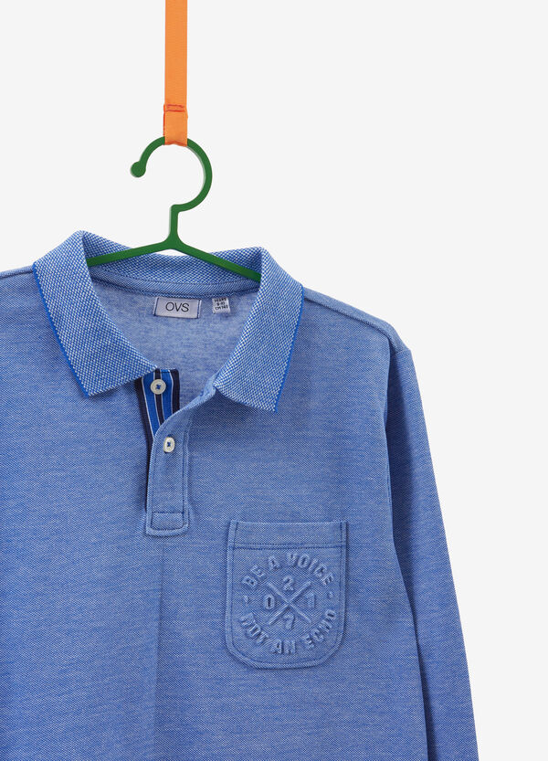 Polo shirt in cotton blend with long sleeves
