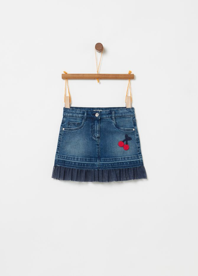 Gonna in denim stretch inserto in tulle