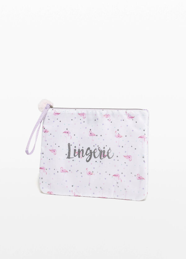 Lingerie case with print and pompom