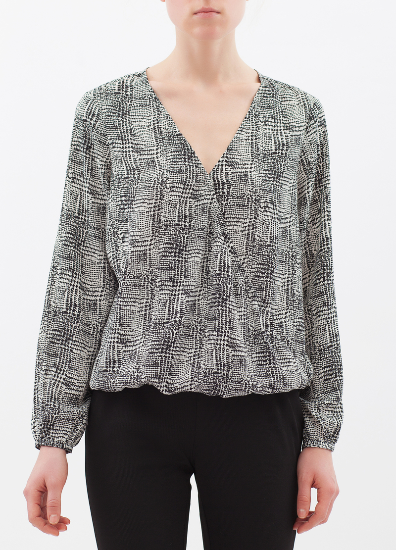 Houndstooth satin blouse image number null