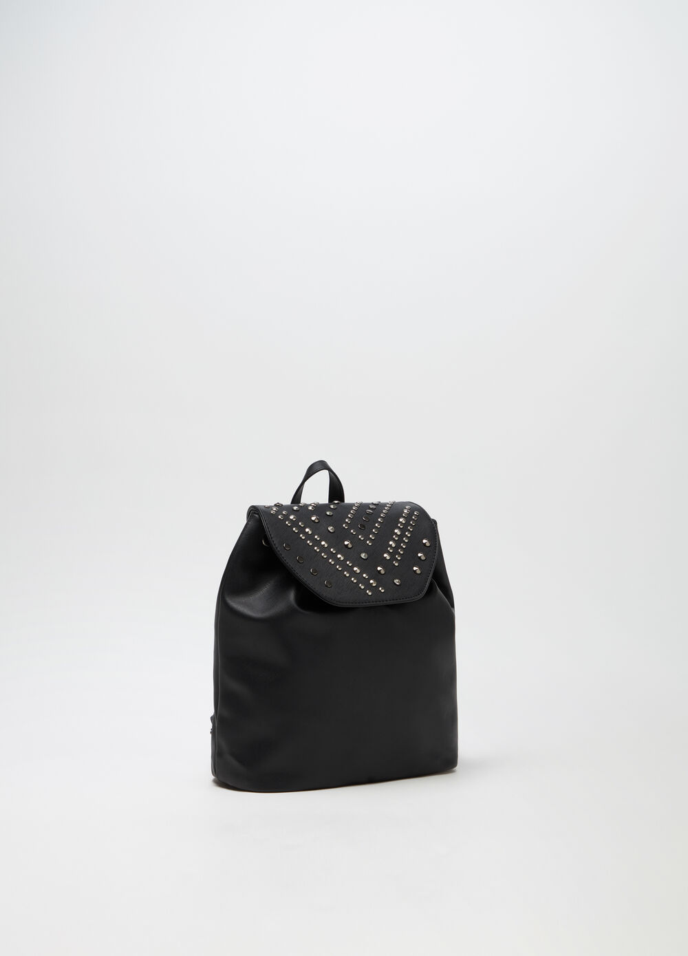 Saffiano backpack with studs and internal pocket