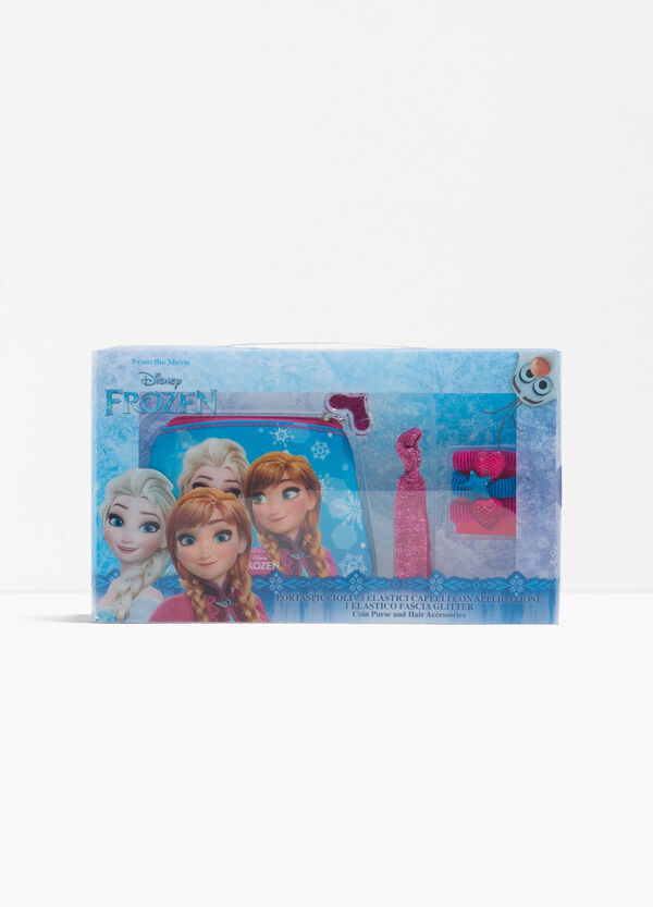 Frozen glitter case and hair elastics set