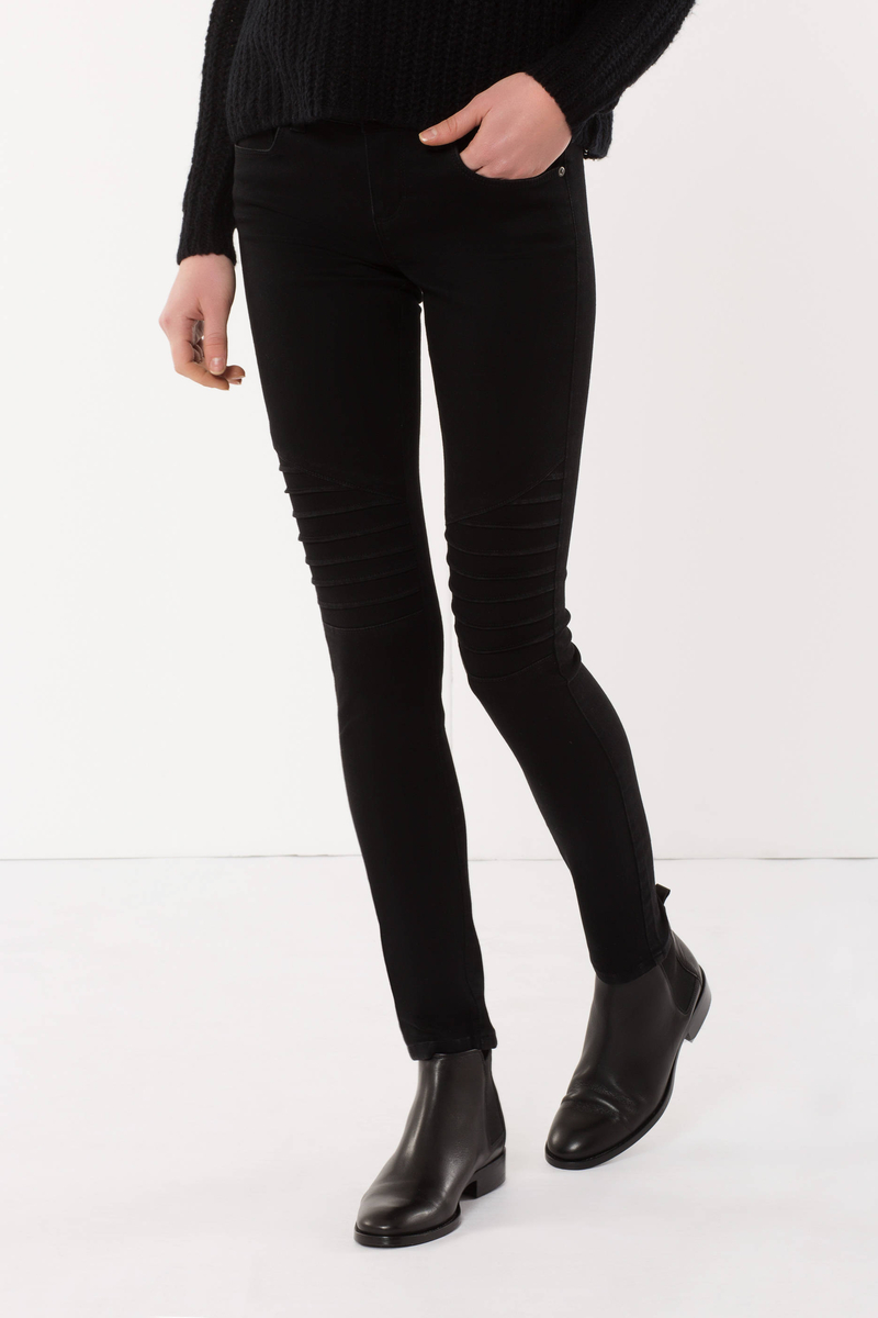 Jeans stretch con pieghe cucite image number null