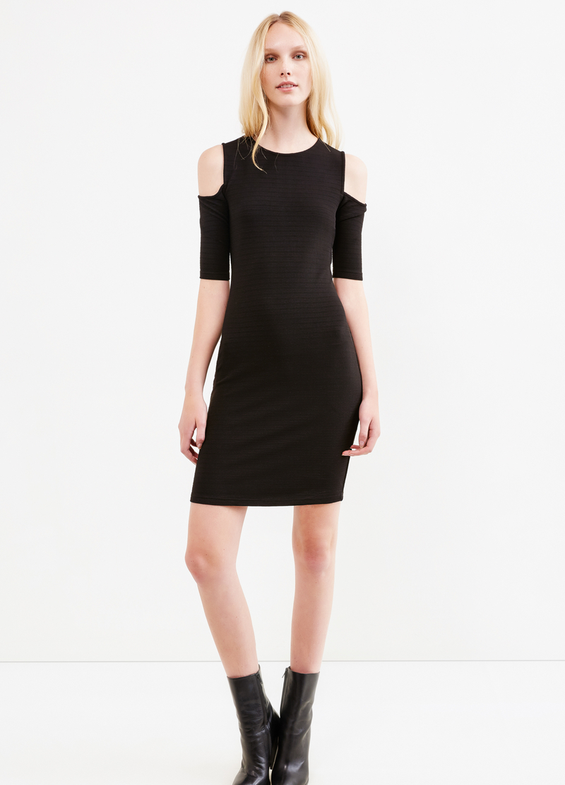 Solid colour stretch dress with striped weave image number null