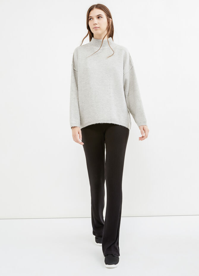 High-neck stretch pullover in wool